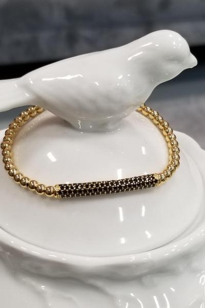 Yellow Gold Bead and Black Pave Stretchy Bracelet