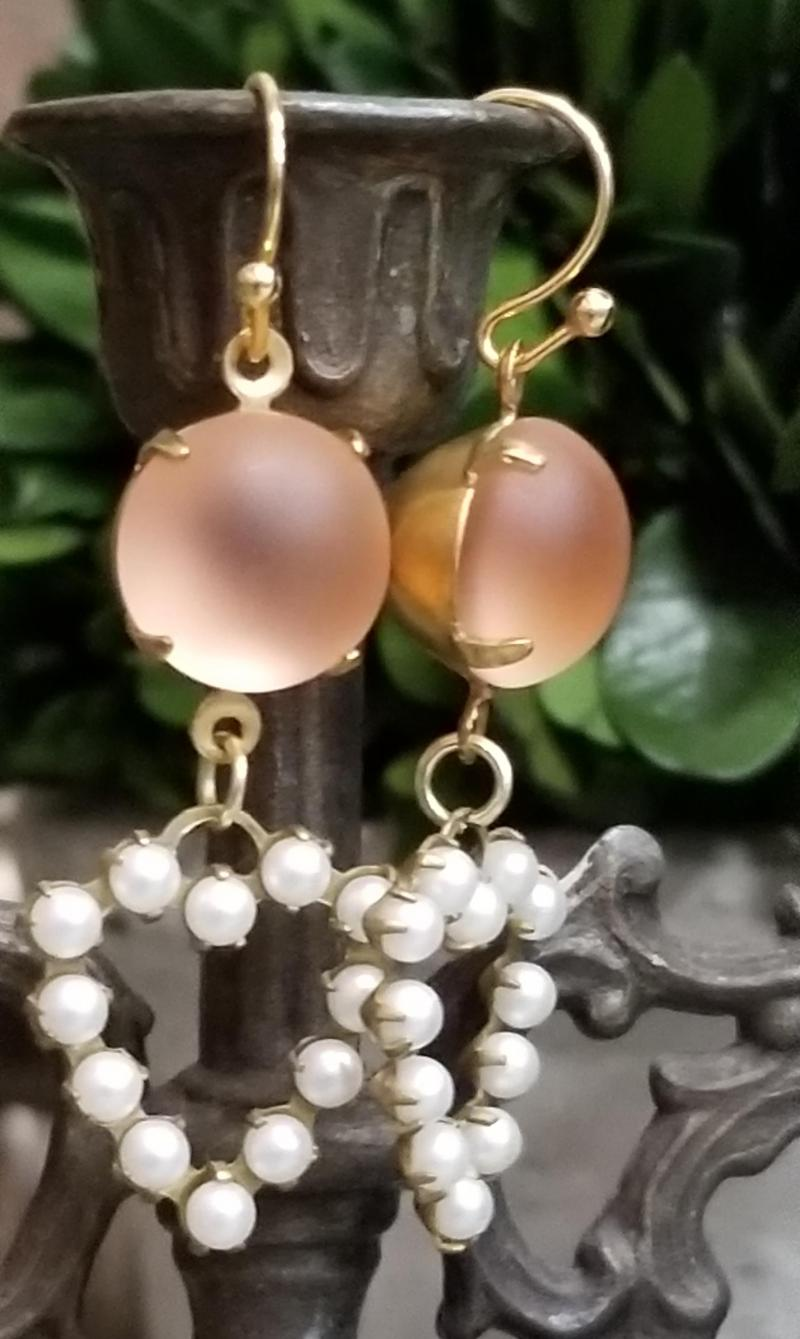 Apricot and Pearl Heart Earrings
