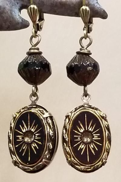 Black and Bronze Sunburst Earrings