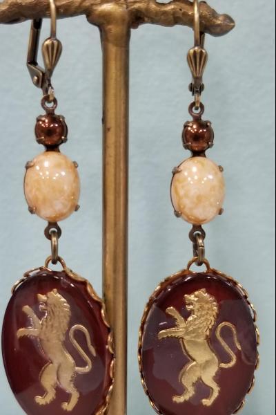Burgundy Lion Crest Earrings
