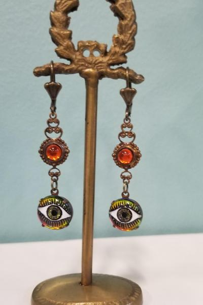 Enchanting Eyes Earrings (Orange)