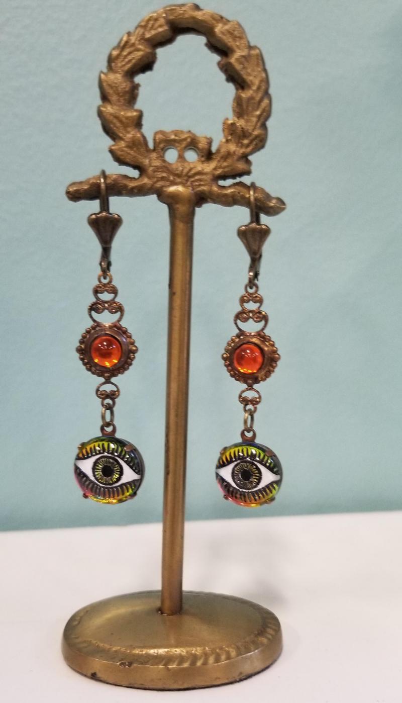 Enchanting Eyes Earrings (Orange)