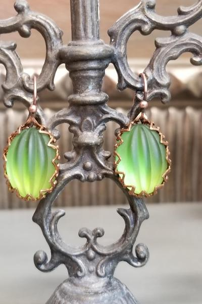 Ethereal Green Curtain Oval Earrings