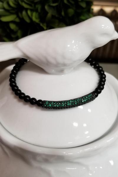 GREEN Pave Bead Stretchy Bracelet