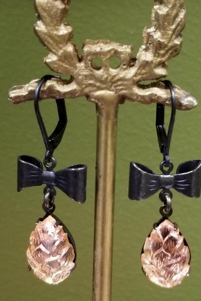 Rose Gold Pinecone Earrings