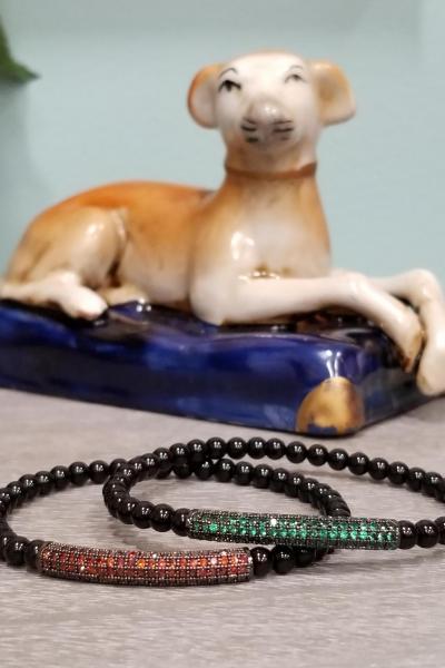 ORANGE Pave Bead Stretchy Bracelet