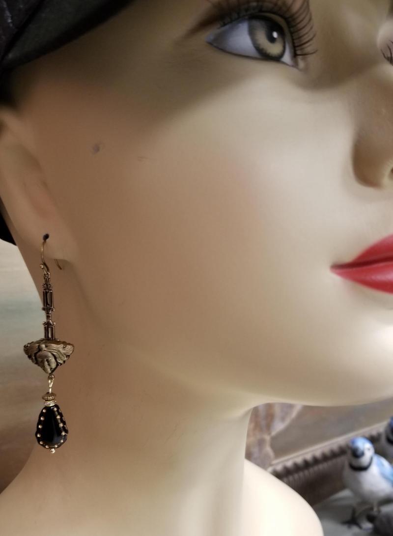 Art Deco Lady Head Earrings
