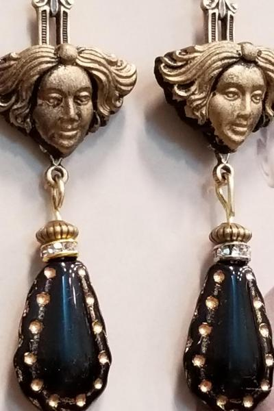 Art Deco Lady Head Earrings