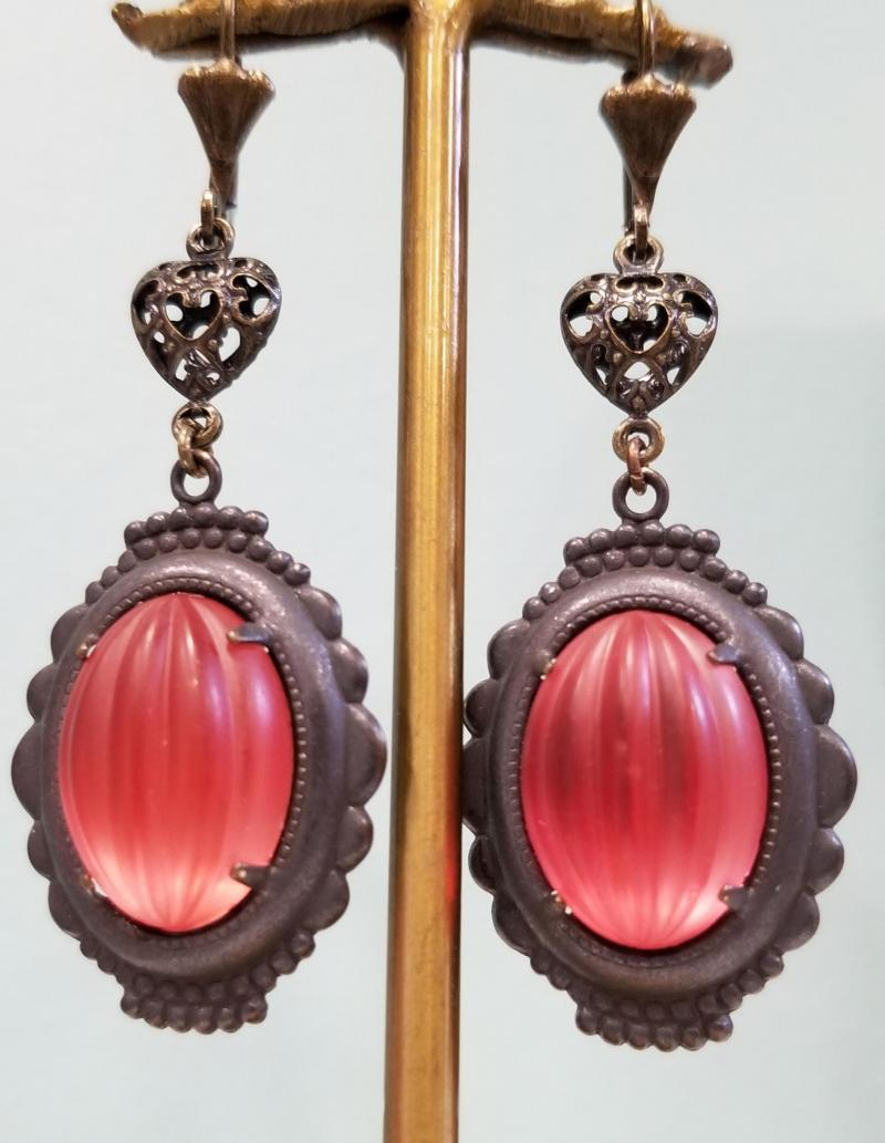 Baroque Oval Picture Frame Earrings FROSTED RASPBERRY