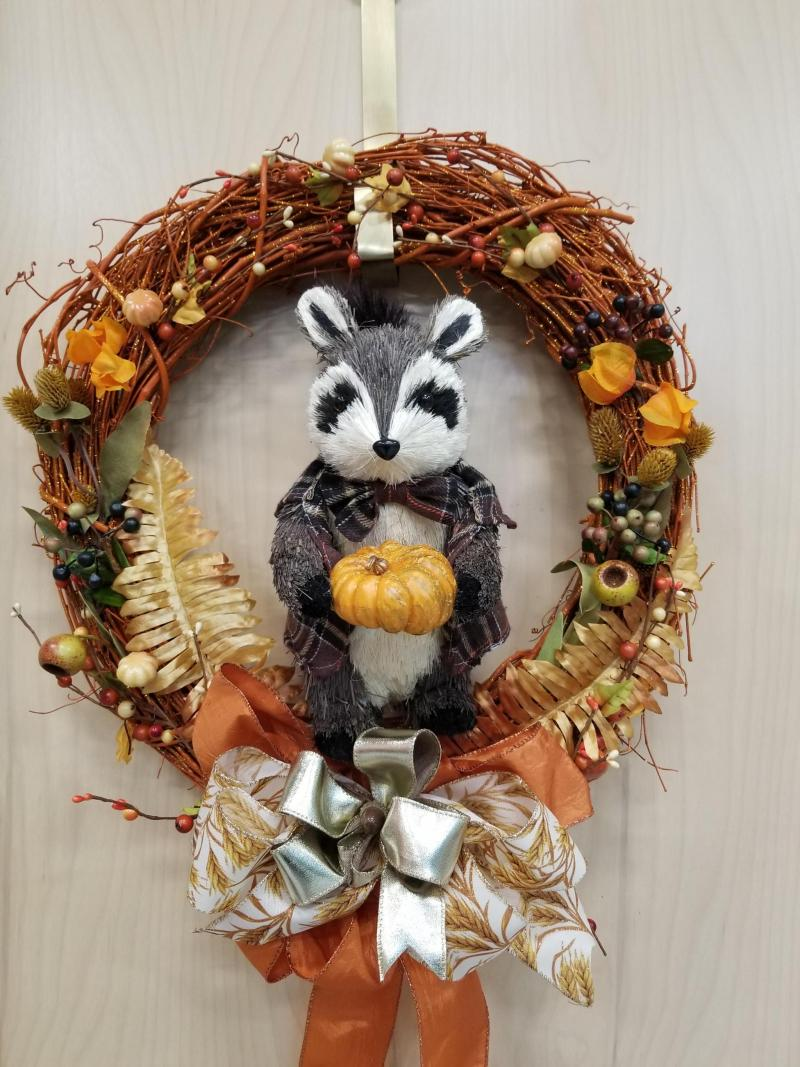Fall Racoon Wreath