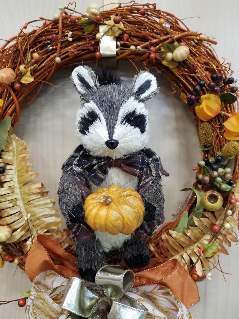 Fall Racoon Wreath