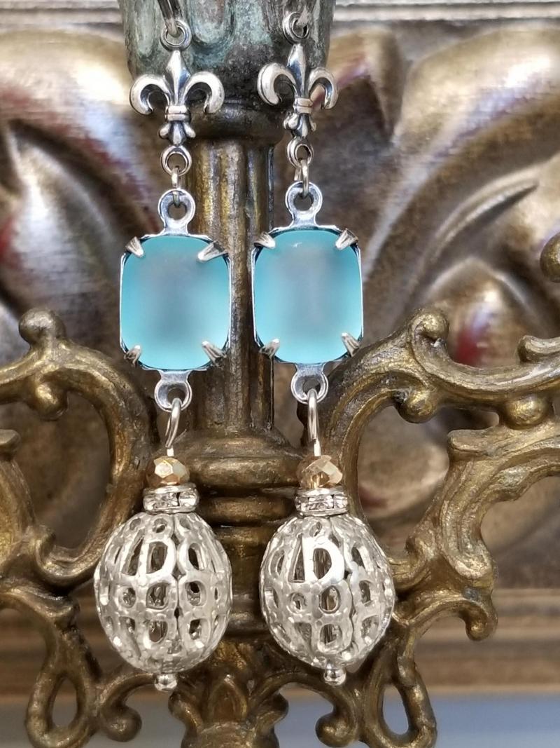 Frosted Turquoise Fleur de Filigree Earrings