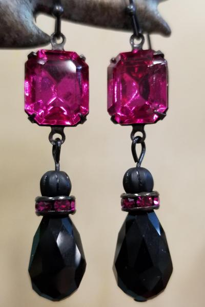 Fuchsia Pink and Black Earrings