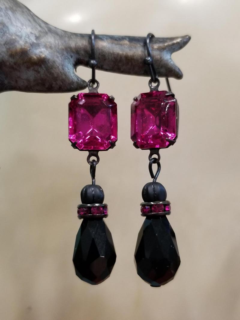 Fuchsia Pink and Black Earrings