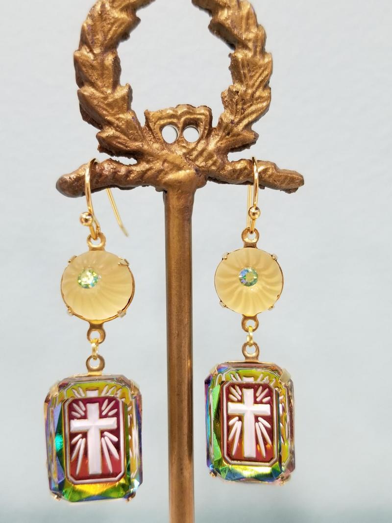 Illuminated Cross and Lemon Drop Earrings
