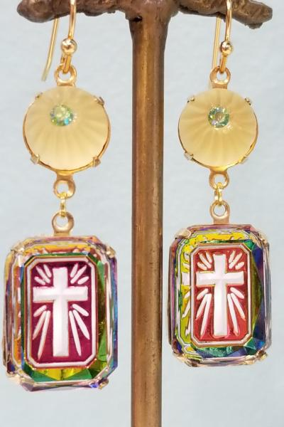 Illuminated Cross and Lemon Drop Earrings