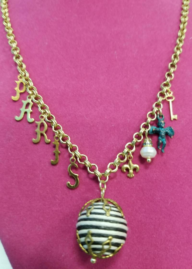 PARIS Calligraphic Letters Charm Necklace