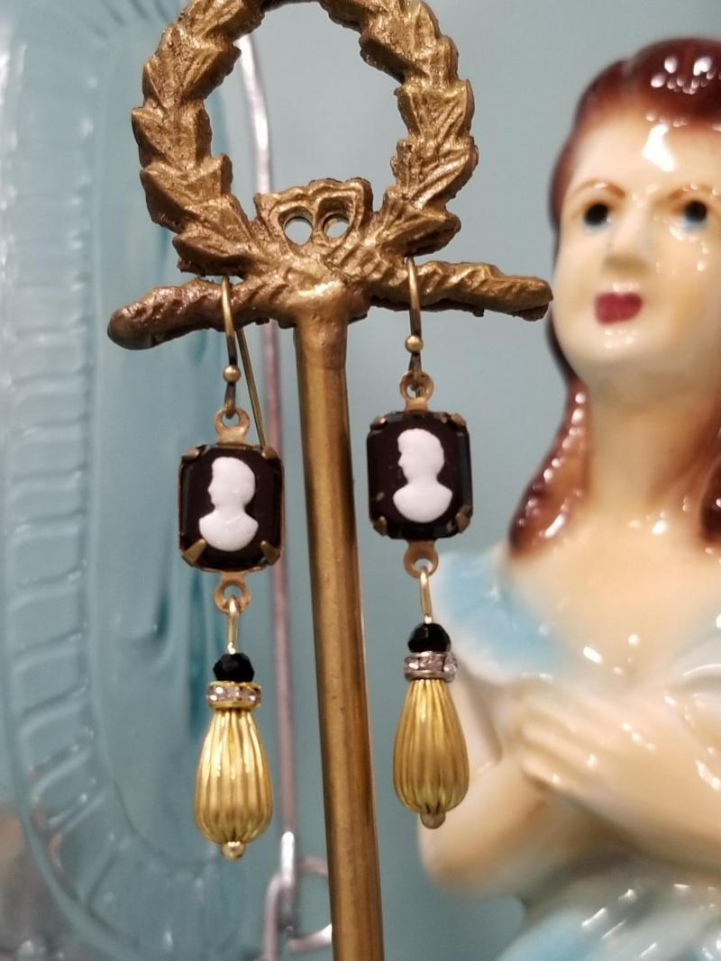 Petite and Sweet Cameo Dangle Earrings
