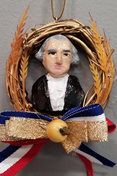 George Washington Mini Wreath Ornament