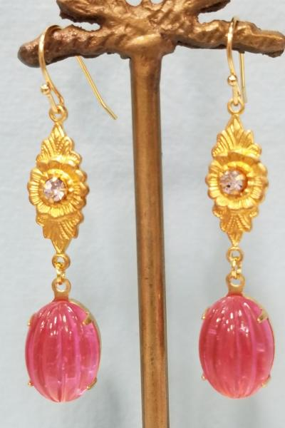 Watermelon Splendor Victorian Earrings