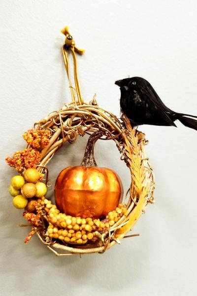 Fall Pumpkin Mini Wreath Ornament
