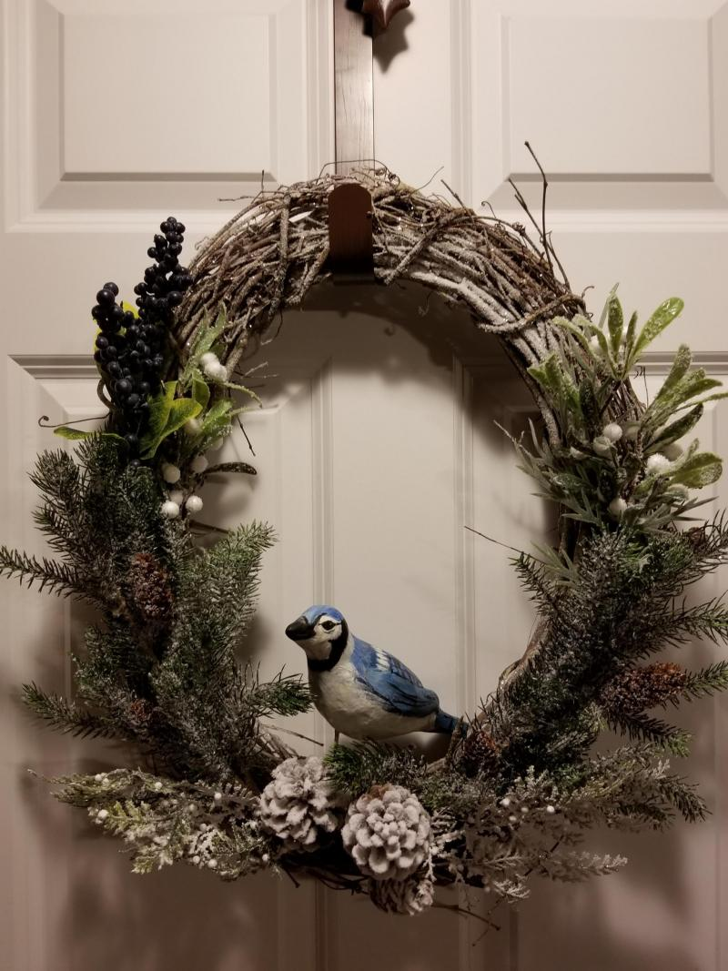 Blue Jay Winter Wreath