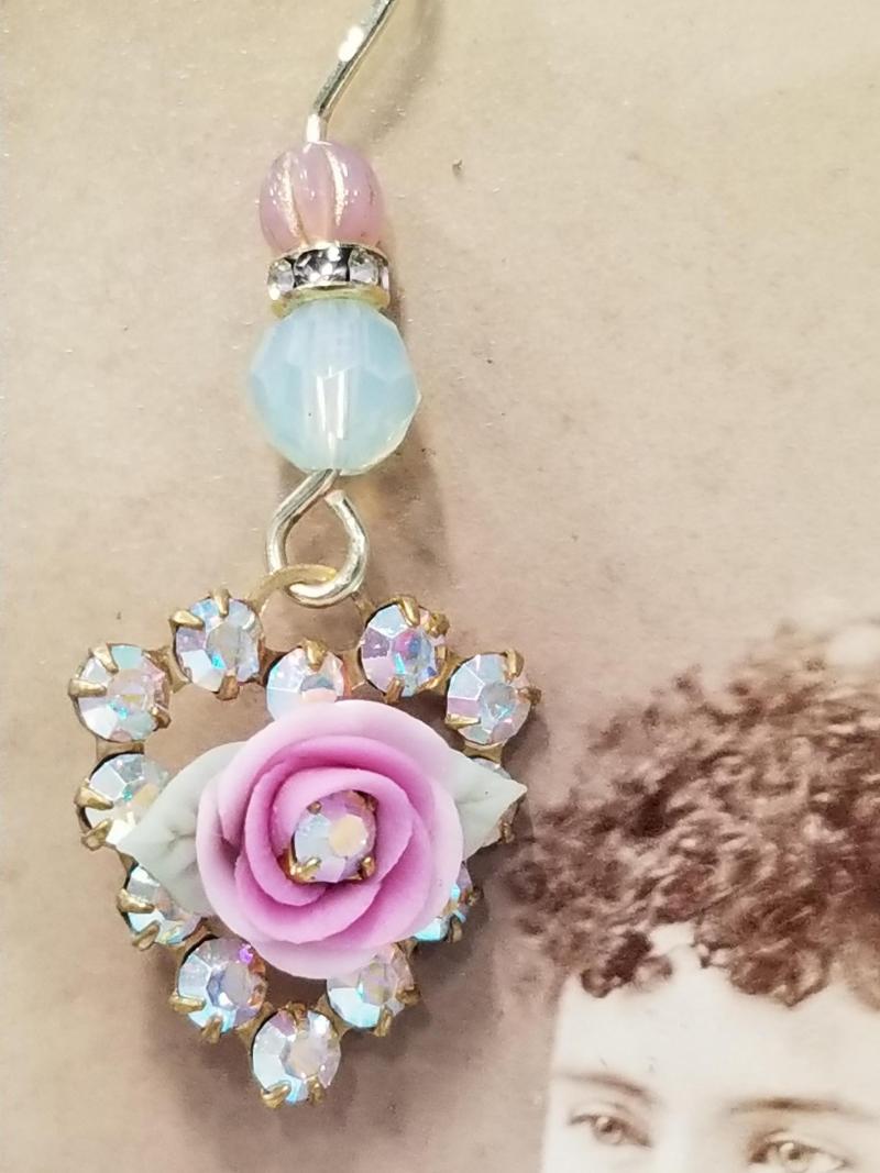 Fairytale Pink Rose Heart Earrings