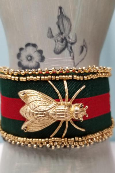 Gucci Inspired FLY and BEE Bead Embroidered Cuff