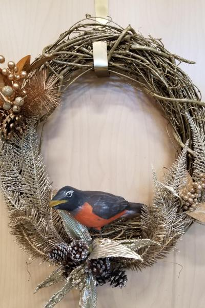 Robin Bird Winter Wreath