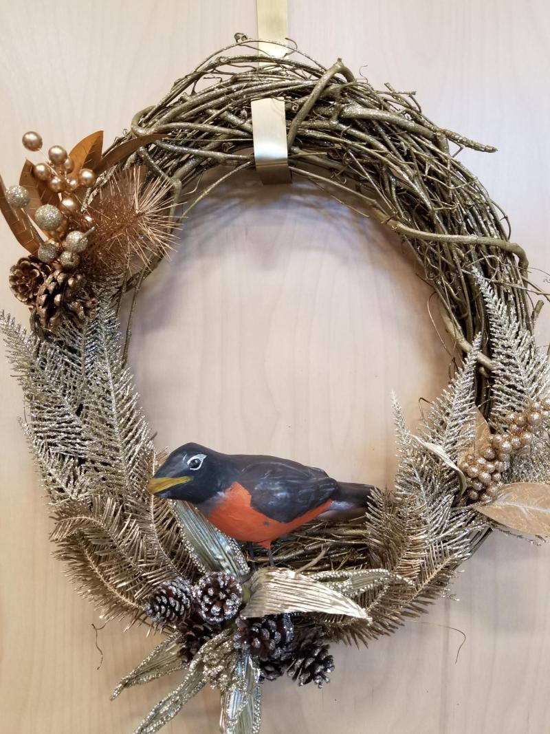 Robin Bird Winter Wreath
