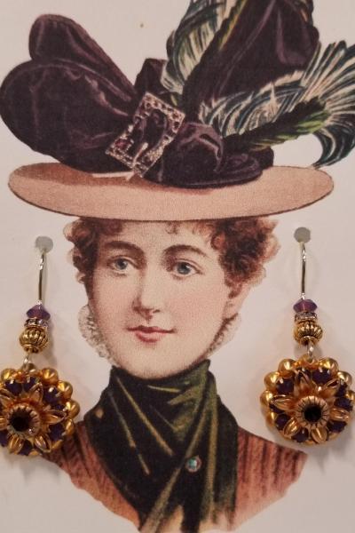 Victorian Violet Flower Earrings