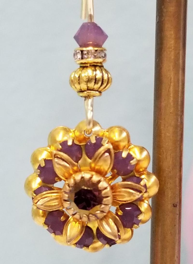 Victorian Violet Flower Earrings