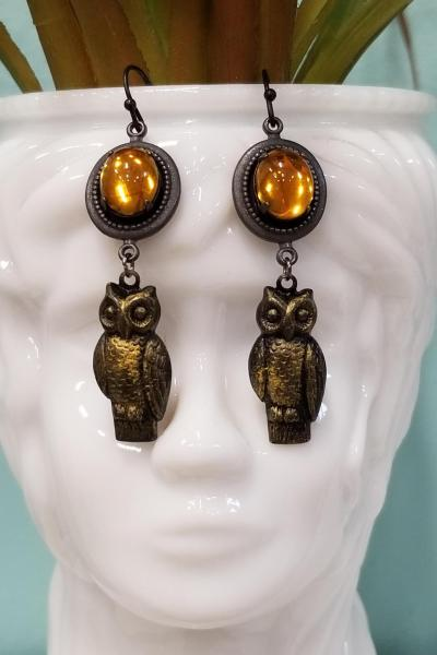 Golden Moon and Owl Earrings