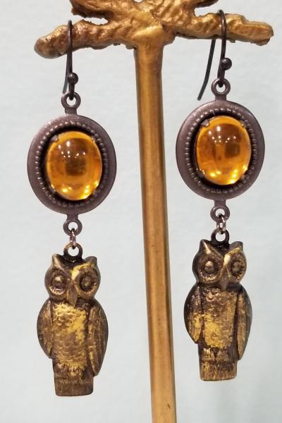 Golden Moon and Owl Earrings