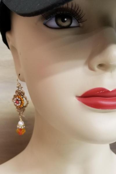 Flames and Pearls Dangle Earrings