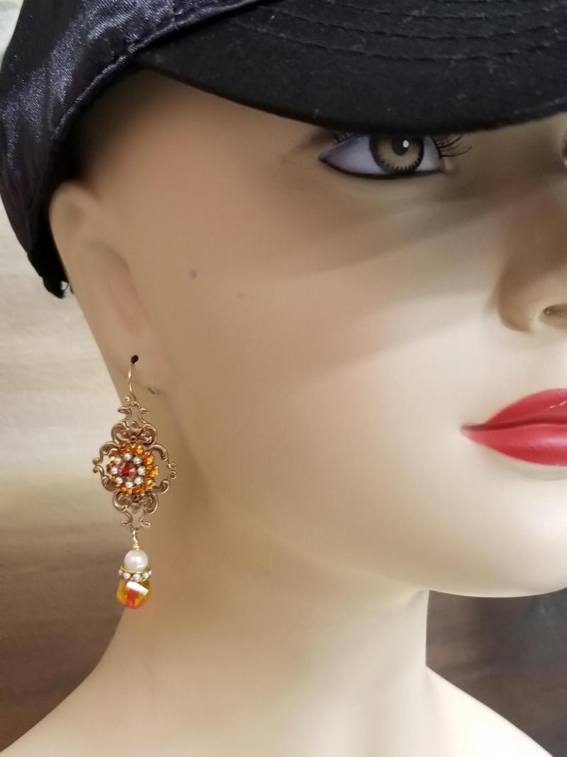 Flames and Pearls Dangle Earrings