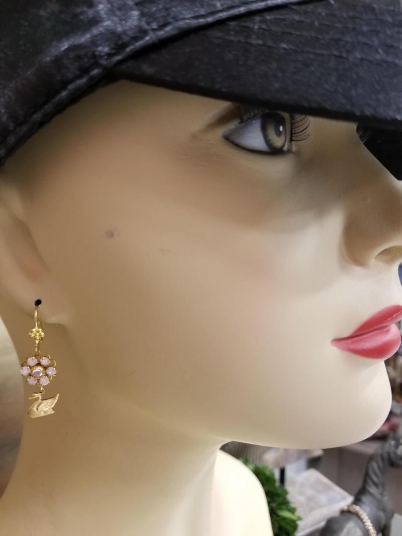 Pink Swan Earrings