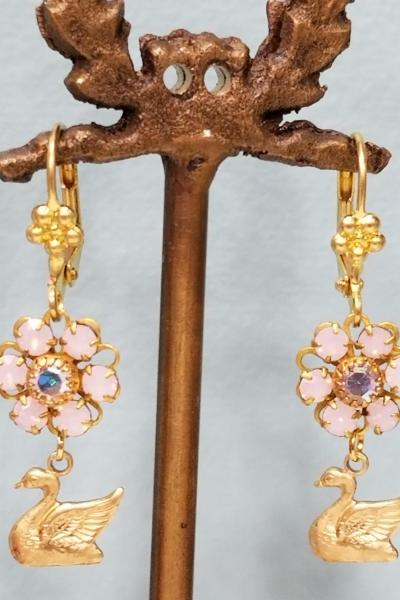 Pink Swan Earrings