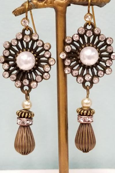 Stunning Starburst and Pearl Dangle Earrings