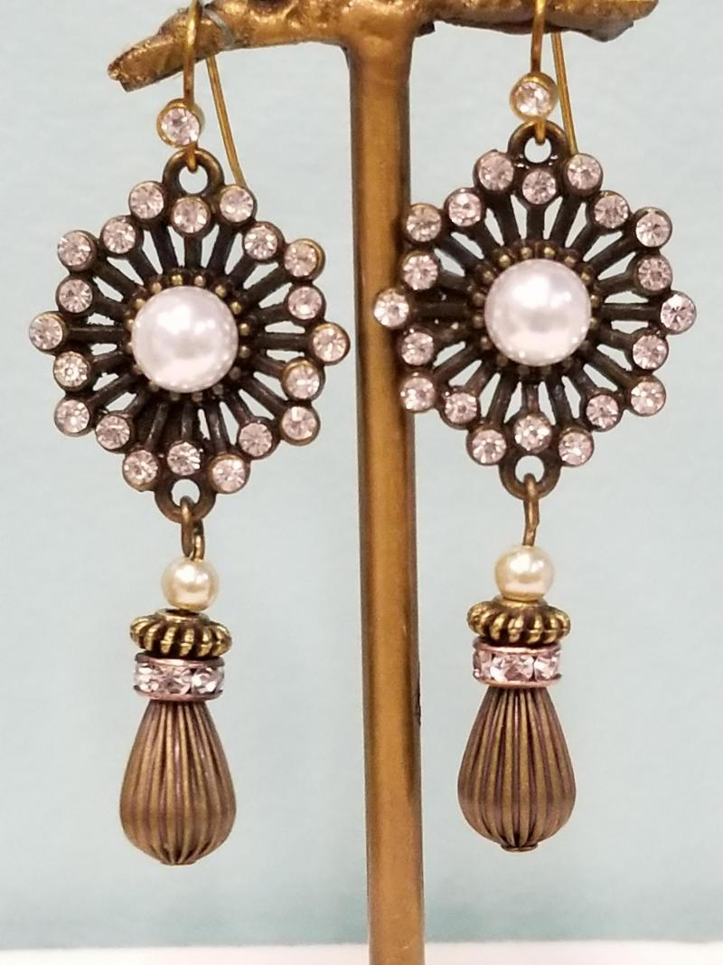 Stunning Starburst and Pearl Dangle Earrings