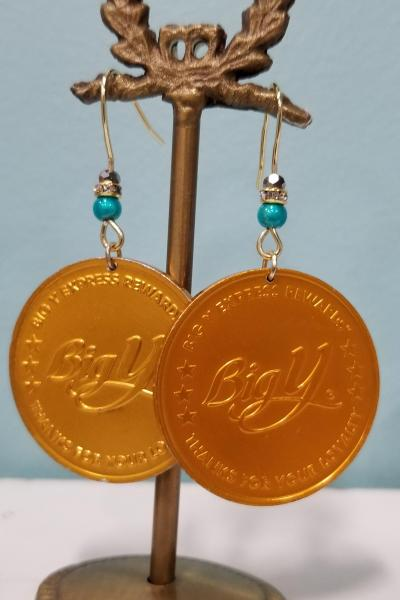 Big Y Supermarket Gold Coin Earrings
