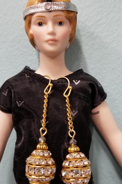 Ovoid Glitz Dangle Chain Earrings