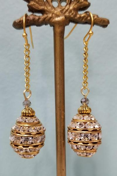 Ovoid Glitz Dangle Chain Earrings