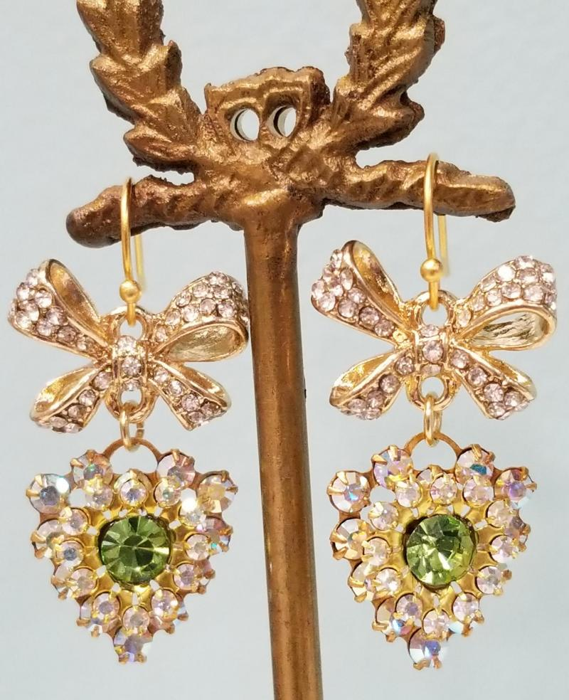 Peridot Green Crystal Heart and Bow Earrings
