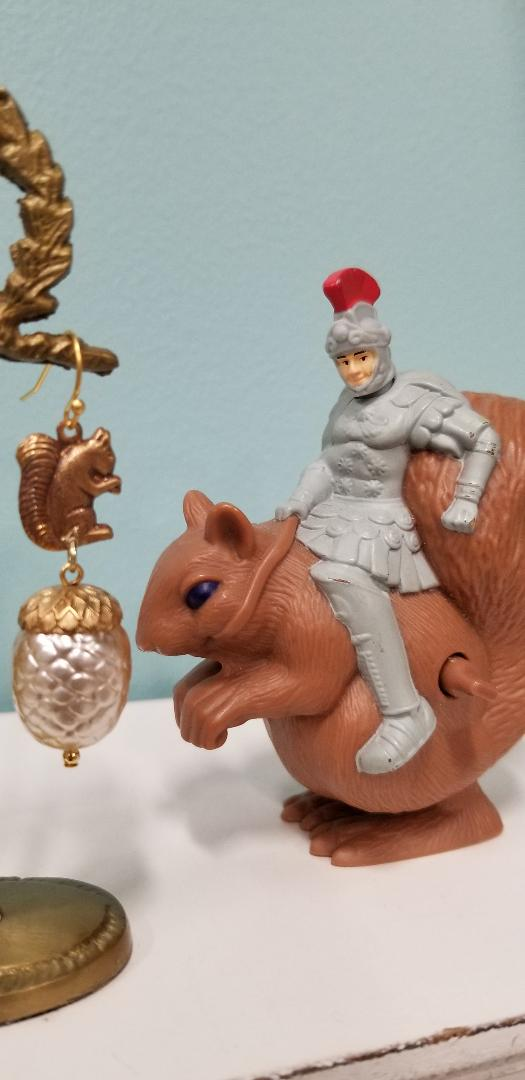 Squirrel and Pearl Acorn Earrings