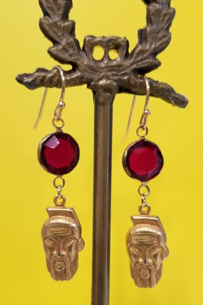 Who's Your Sensei Fu Manchu Earrings (Cabernet Red)