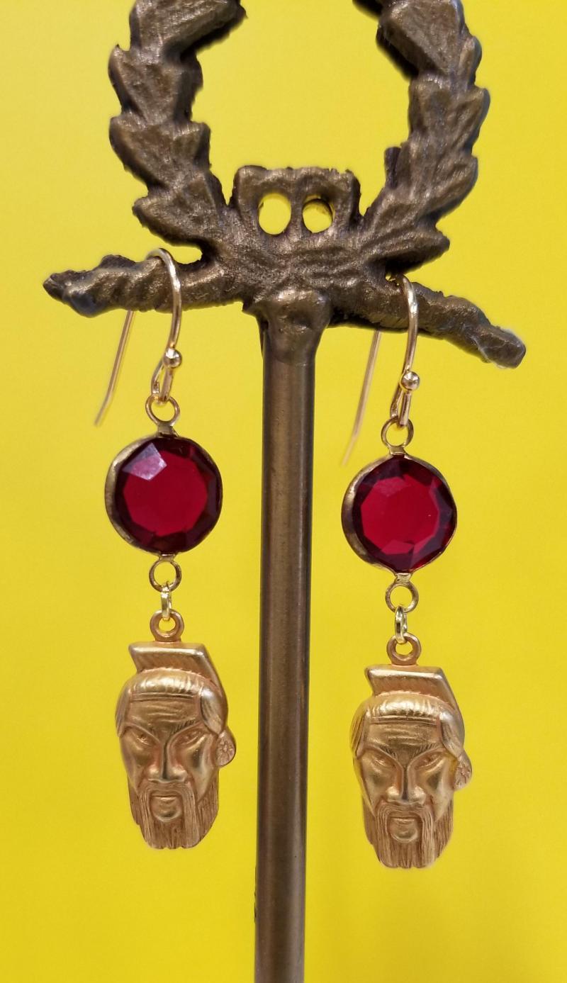 Who's Your Sensei Fu Manchu Earrings (Cabernet Red)