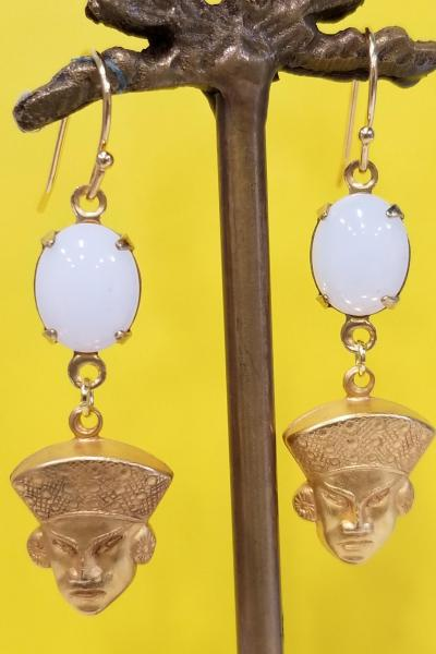 Who's Your Sensei Fu Manchu Earrings (Milky White Opal)
