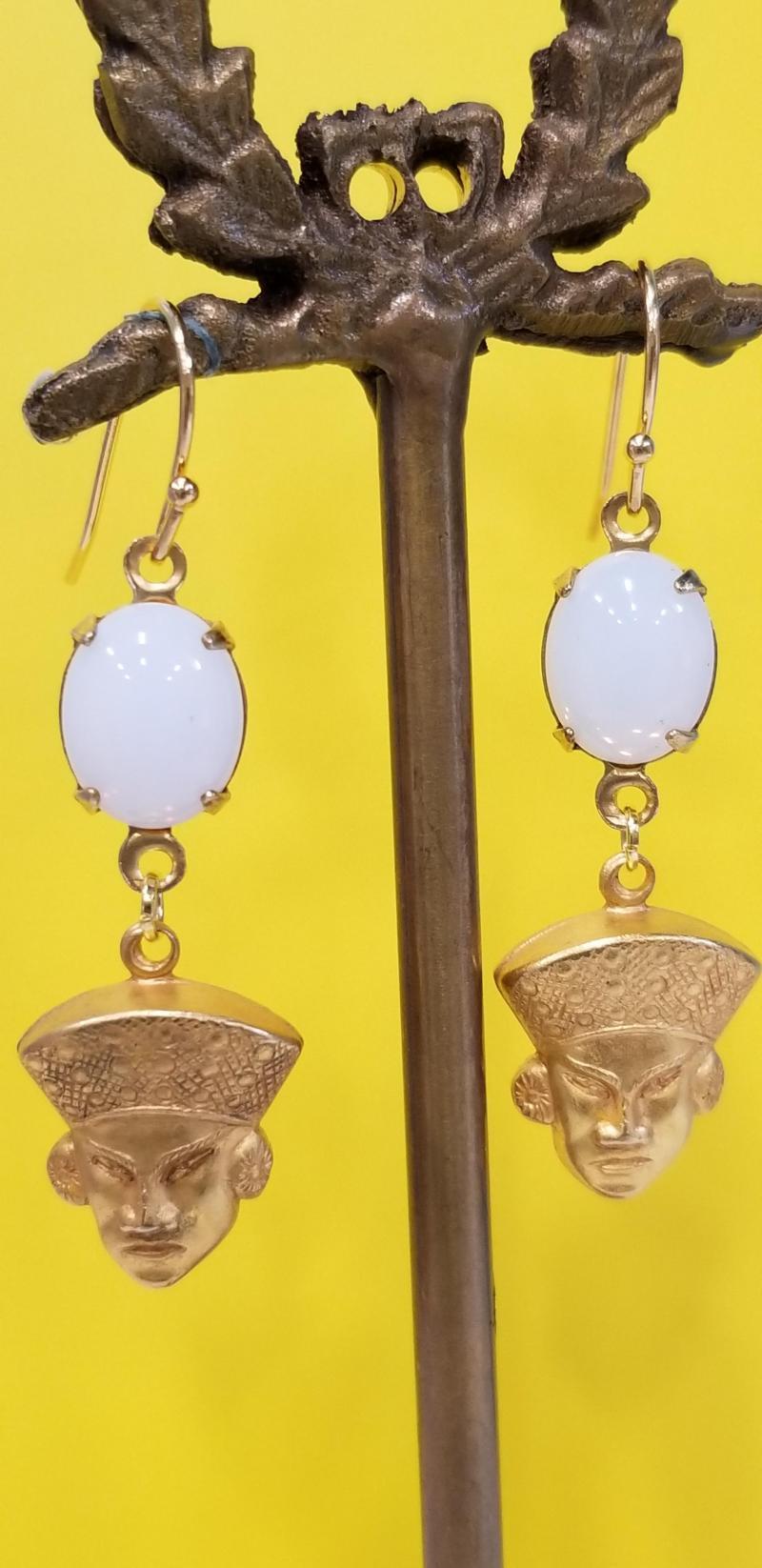 Who's Your Sensei Fu Manchu Earrings (Milky White Opal)