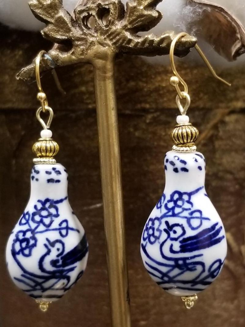 Blue and White Chinoiserie Pottery Vase Earrings